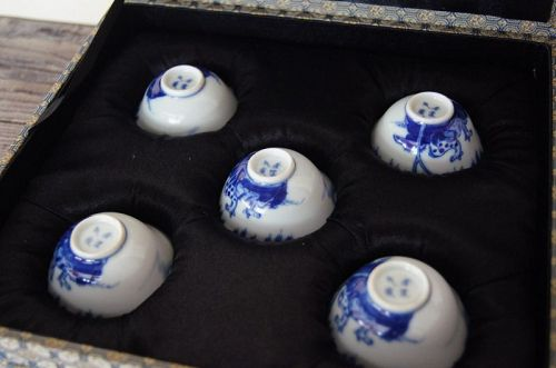 """Five Blue and White Porcelain """"RUO SHEN ZHEN CANG"""" Teacup,Qing Dynasty"""