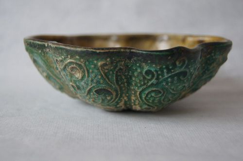 A Chinese Sancai Foliated Small Pottery Bowl,Tang Dynasty