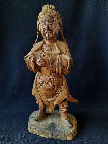 A Chinese Wood Statue of A Daoist Immortal ,17~18 C.