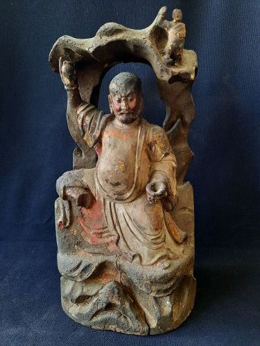 A Chinese Wood Statue of A Daoist Deity ,17 C.
