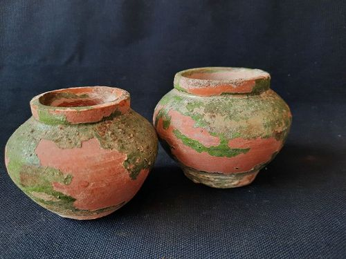 Two Green-glazed Jars,Jin Dynasty