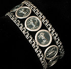 STUNNING HEAVY OLD MEXICAN SILVER ZODIAC SIGNS BRACELET