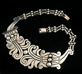 HECTOR AGUILAR MEXICAN 940 SILVER NEW MAGUEY NECKLACE