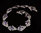 STUNNING BETO MEXICAN SILVER and AMETHYST NECKLACE