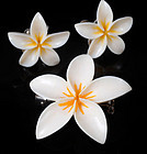 SUNAMOTO JAPANESE IVORY PLUMERIA PIN and EARRINGS SET