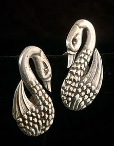 ROMANTIC LOS CASTILLO SILVER REPOUSSE SWANS EARRINGS