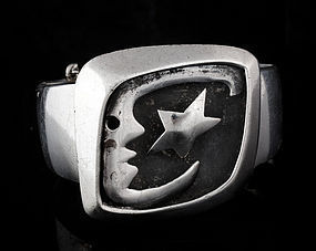 SALVADOR TERAN MOON and STAR MEXICAN SILVER BRACELET