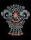 EARLY MATL MATILDE POULAT SILVER CORAL PIN BROOCH