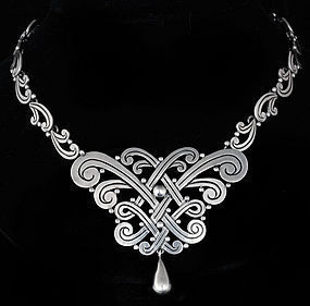 LOS CASTILLO MEXICAN SILVER ELABORATE KNOT NECKLACE