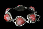DECO MEXICAN SILVER RED AGATE HEARTS BRACELET