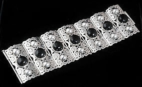 STUPENDOUS C. MOLINA MEXICAN SILVER OBSIDIAN BRACELET