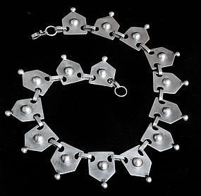 CHATO CASTILLO MEXICAN 980 SILVER Shields NECKLACE