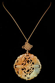 DECO CHINESE Two Tone  JADE Moths SAUTOIR NECKLACE