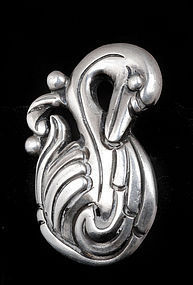 MARGOT de TAXCO MEXICAN SILVER REPOUSSE SWAN EARRINGS