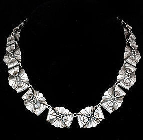 AE HEART AEM MEXICAN SILVER CACTUS FLOWER NECKLACE