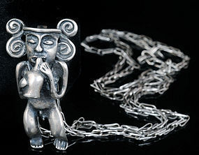 SIGI PINEDA MEXICAN SILVER preCOLOMBIAN FIGURE NECKLACE