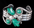 MEXICAN SILVER Hands TULIPS CUFF BRACELET Baby SIZE
