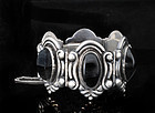 ANTON MEXICAN SILVER and ONYX REPOUSSE BRACELET