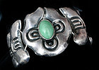 EARLY DECO MEXICAN REPOUSSE SILVER STONE BRACELET