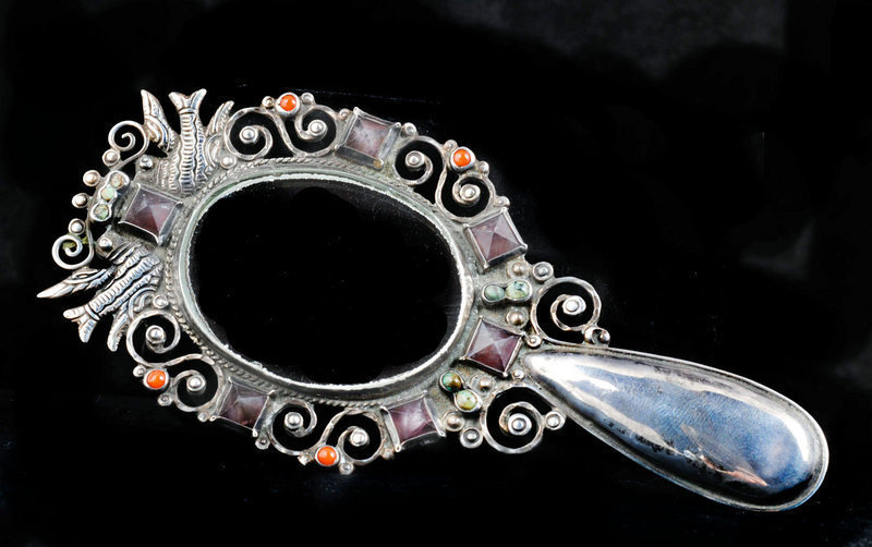 MATL-esque MEXICAN SILVER Doves JEWELED hand MIRROR