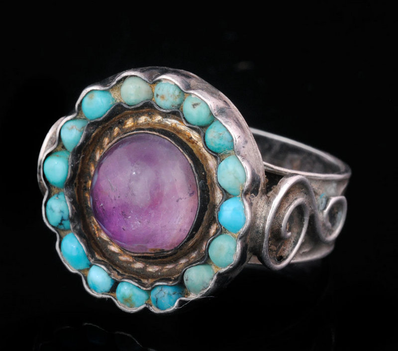 RARE ROUND DECO Matl-esque MEXICAN SILVER JEWELDED RING