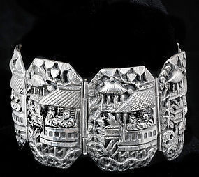 Early DECO CHINESE SILVER REPOUSSE FIGURAL BRACELET