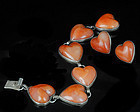 DECO MEXICAN SILVER and AGATE HEARTS BRACELET EARRINS