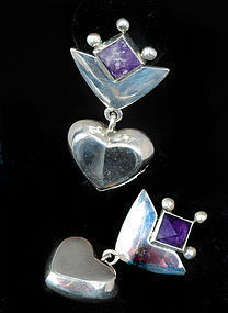 Mimi CASTILLO MEXICAN SILVER AMETHYST HEART EARRINGS