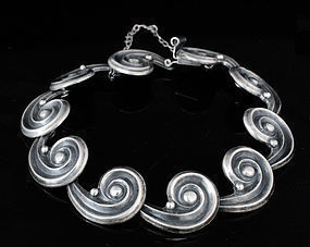 LOS CASTILLO MEXICAN SILVER SWIRL and BEAD BRACELET