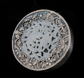 CHINESE SILVER plated CARVED JADE COMPACT signed LIU