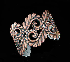 LOS CASTILLO SILVER and COPPER REPOUSSE CUFF BRACELET