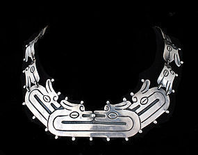 DECO MEXICAN Silver Carved Quetzalcoatl NECKLACE