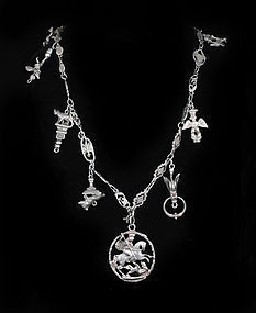 Flli COPPINI Italian SILVER CHARM NECKLACE St George