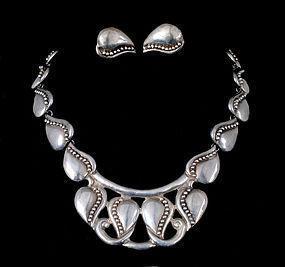 Mexican silver Necklace Earrings Margot de Taxco style