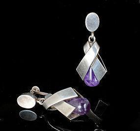 mod Antonio Pineda Mexican silver amethyst Earrings