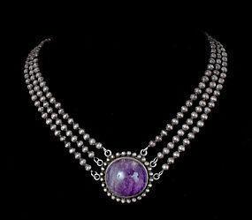 rare Los Castillo Mexican 980 silver amethyst Necklace