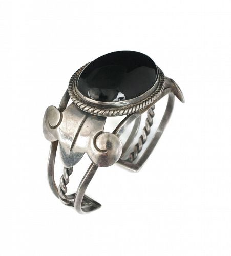 big and bold Los Castillo Mexican silver Cuff Bracelet with black onyx