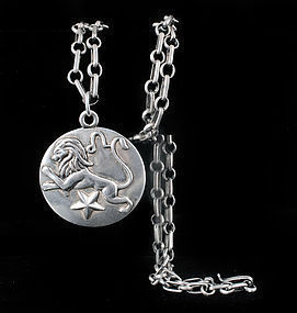 Margot de Taxco Mexican silver Leo pendant Necklace 5227