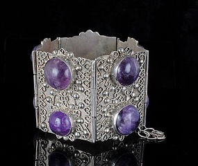 hugest ever Deco Mexican silver amethyst Bracelet