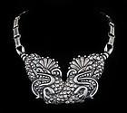Mexican Deco 940 silver repousse Quetzalcoatl Necklace