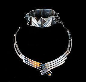 bold Mexican silver modernist Bracelet~ A. Pineda design