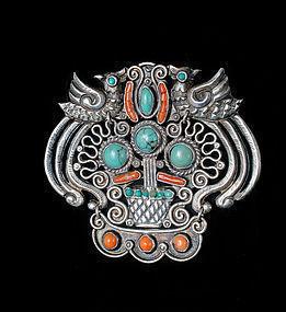big Deco Matl Matilde Poulat Mexican silver Pin Brooch