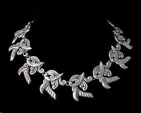 dramatic Taxco Deco Mexican silver repousse Necklace