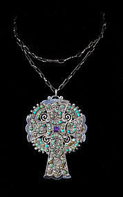 big Matilde Poulat Matl Mexican silver jeweled Cross Necklace