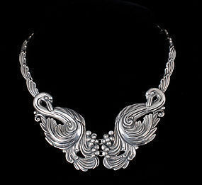 sublime Margot de Taxco Mexican silver swans Necklace