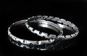 Antonio Pinda Mexican silver mod Bangle Bracelets - set of 2