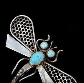 huge H. Parra Mexican silver Pin Brooch dragonfly with agate