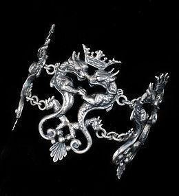 wide Deco Italian silver Bracelet Peruzzi style double dragons