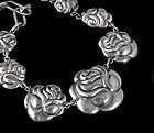 early Deco Mexican silver Necklace Matl style rosas repousse