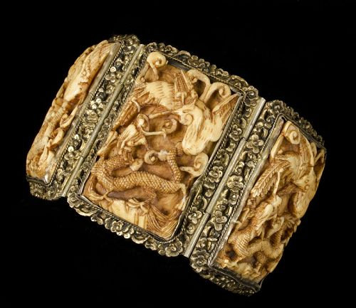 antique Chinese silver repousse carved pai gow tiles wedding Bracelet